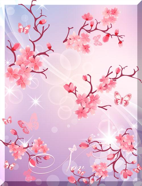 Клипарт цветы сакуры с бабочками на