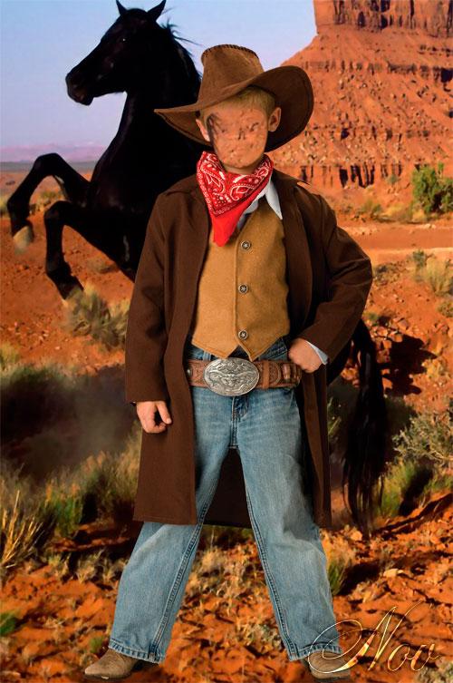 Фотошаблон для мальчика - Ковбой на Диком Западе
