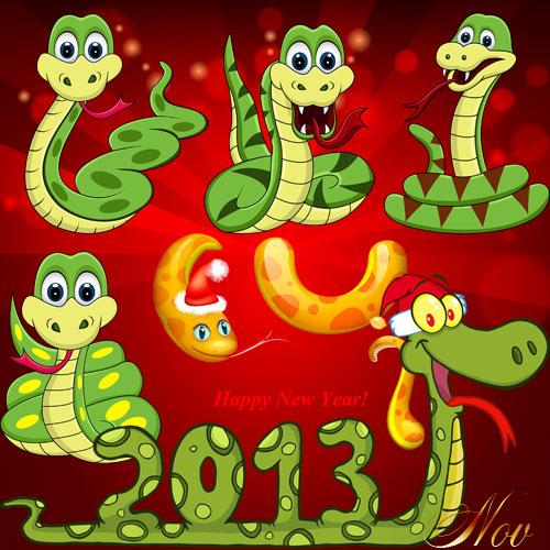 Змейки к 2013 году на прозрачном фоне