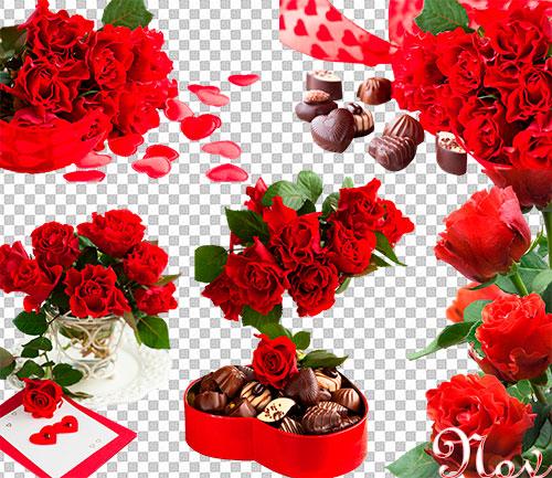 Клипарт красные розы с сердечками